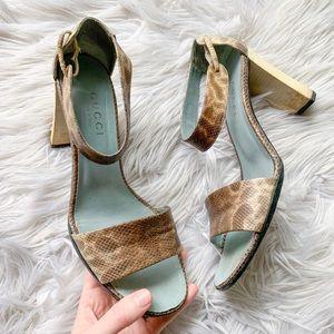 👠BOGO🆓 Vintage Gucci Snake Leather Heel Sandals